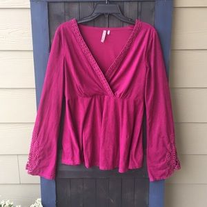 Purple Faux suede bell sleeve top size L.